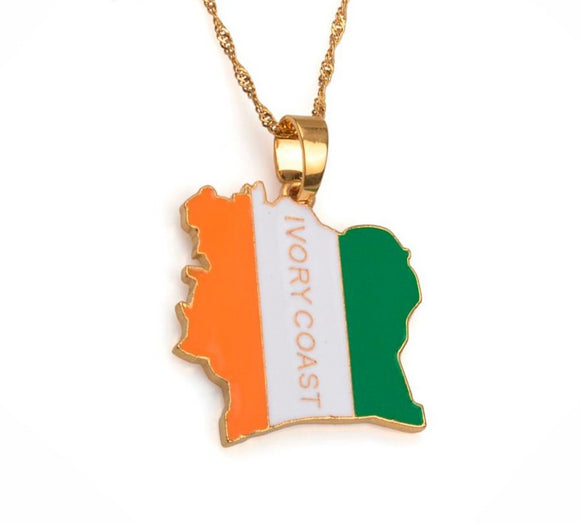 COTE D IVOIRE / Ivory Coast Map Flag Gold/Silver Color Necklaces