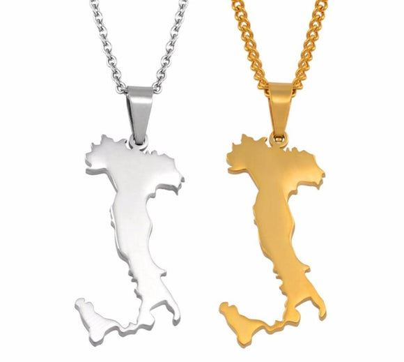 Italy Map Pendant Necklaces Silver Color/Gold Color