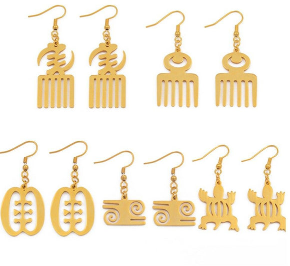 African Symbol Earrings Adinkra Gye Nyame