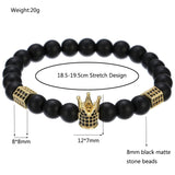Matte Stone Crown And Hexagon Charm Bracelet For Men