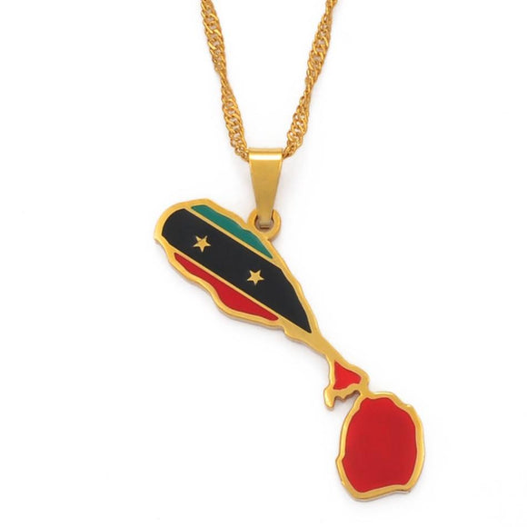 St Kitts and Nevis Flag Pendant Necklaces