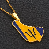 Barbados Island Flag Pendant Necklaces