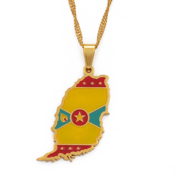 Grenada Island Map Pendant Necklaces