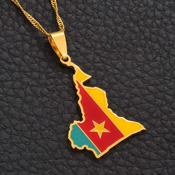 Cameroon Map Color Pendant Chain Necklaces