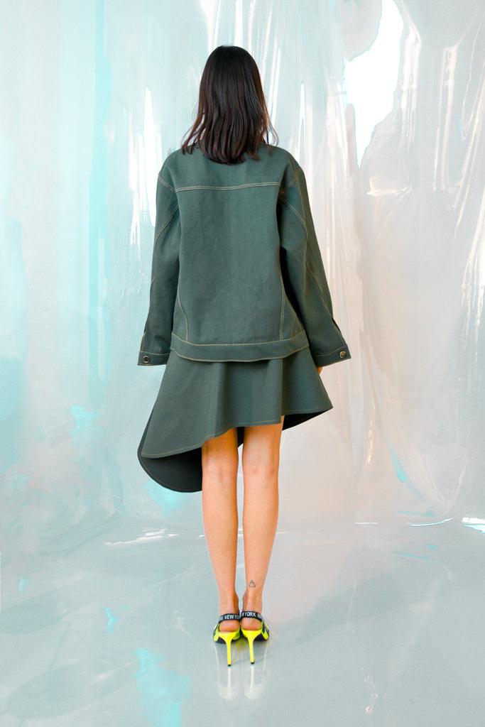 Grey Green Denim Jacket and skirt