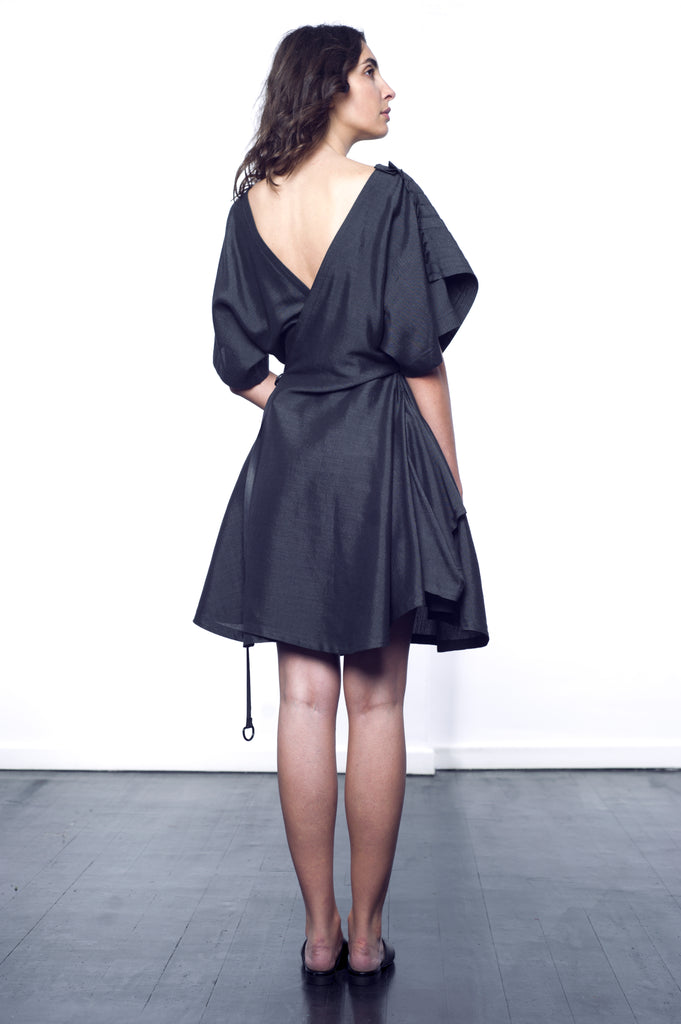 Grey Back-Wrap Dress