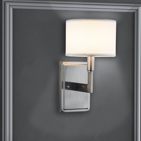 Allegro One-Light Wall Sconce Lamp with White Linen Shade