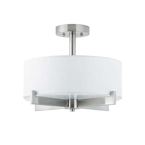 Allegro Semi Flushmount Ceiling Lamp with White Fabric Shade