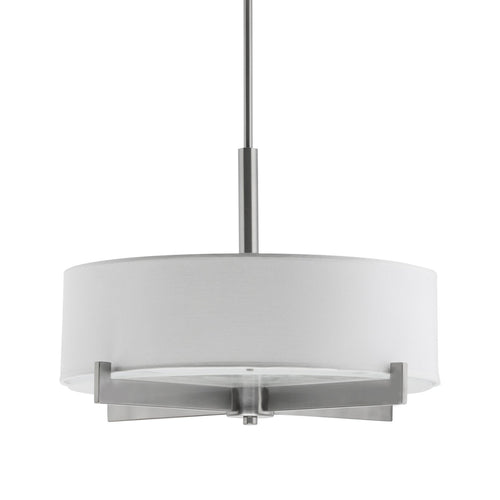 Allegro Drum Pendant Ceiling Lamp with White Fabric Shade