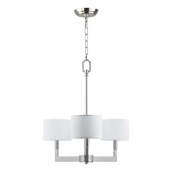 Brushed Nickel 3-Light White Chandelier