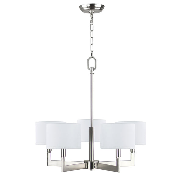 Allegro 5-Light White Fabric Shade Chandelier