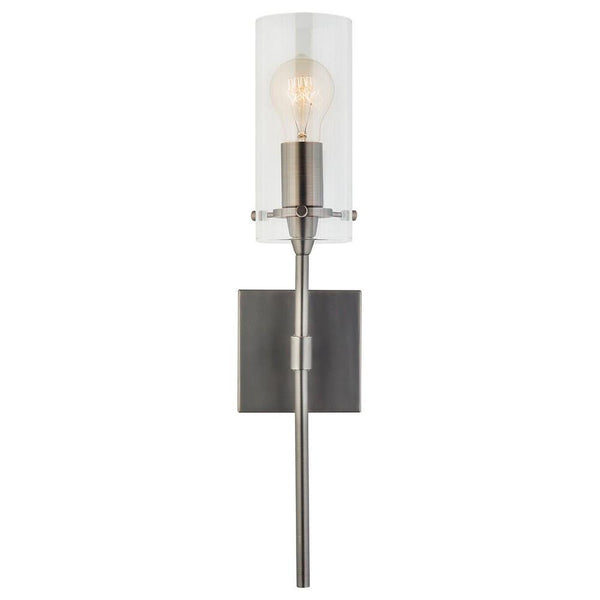 Effimero One-Light Wall Vanity Corridor Sconce Lamp, Clear Glass Cylinder