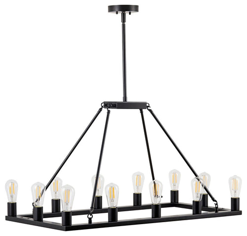 Sonoro Vertical Light Industrial Rectangular Chandelier