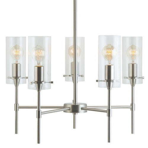 Effimero Five-Light Stem Hung Chandelier, Brushed Nickel with Clear Glass Cylinders
