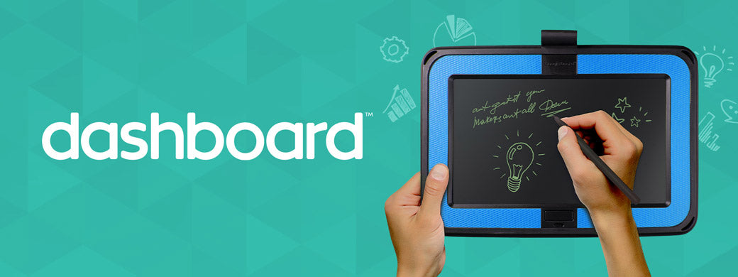 Dashboard banner image with tablet and hand writing