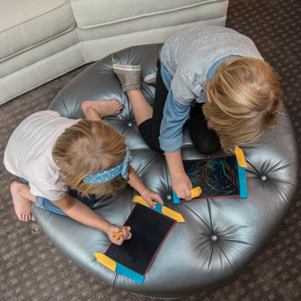 Scribble Play Kids Drawing Tablet Overhead Two Girls using tablets