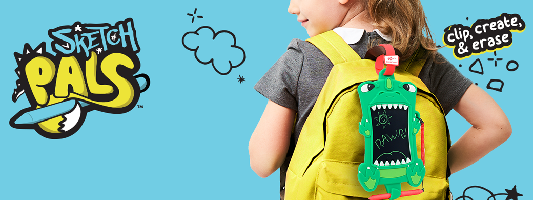 Sketch Pals Banner Image Girl with Dinosaur on Backpack
