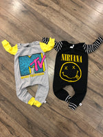 MTV Classic Logo Pop Culture Romper/Dress/Hoodie, Long Sleeve Romper Examples