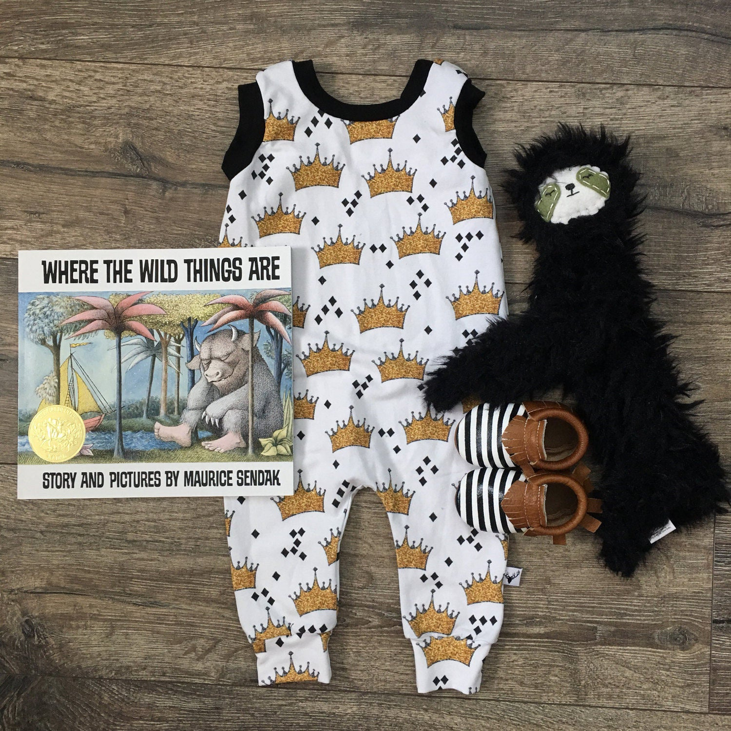 Where the Wild Things Are Crown Pattern Romper/Dress/Hoodie, Romper Flat Lay