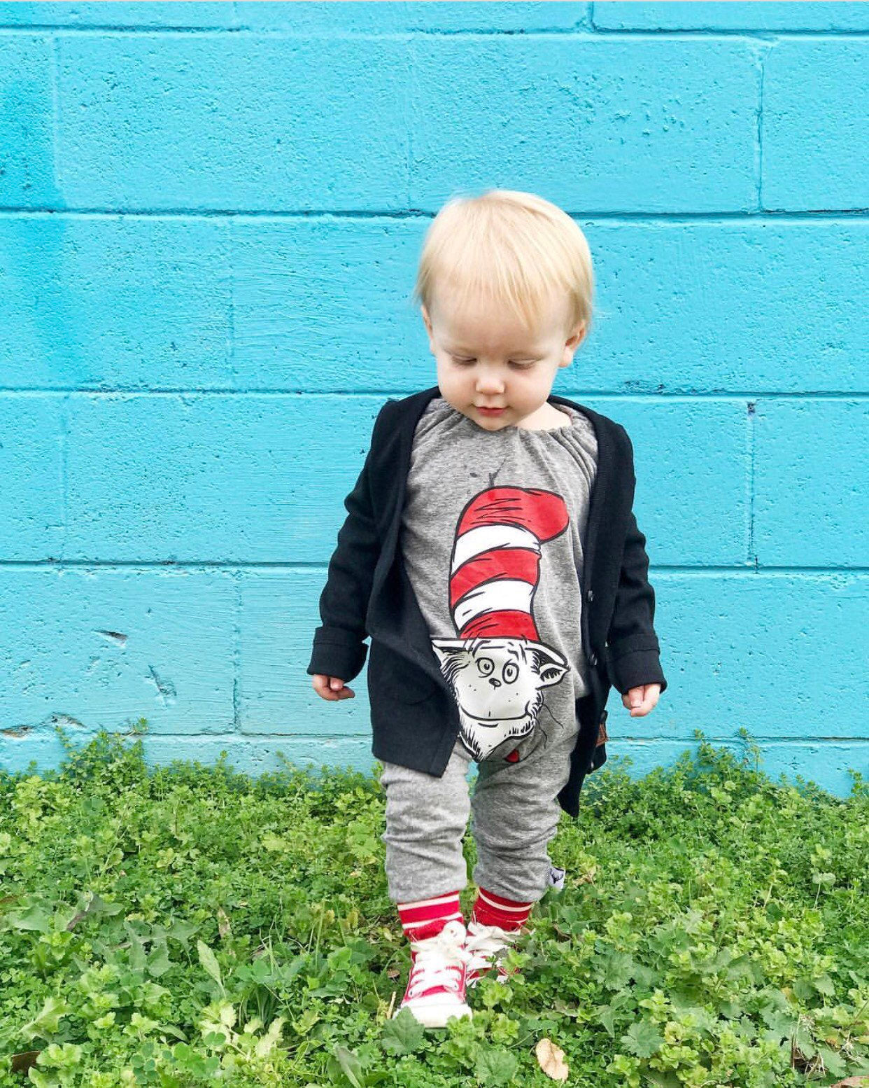 Dr Suess Cat in the Hat Classic Romper/Dress/Hoodie, Romper On Young Boy