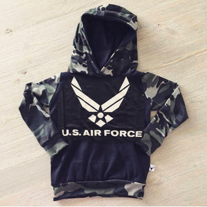 US Air Force Military Hero Romper/Dress/Hoodie, hoodie flat lay