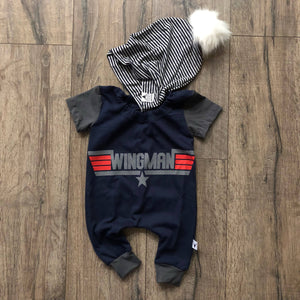 Wingman Top Wing Pilot Romper/Dress/Hoodie, Short Sleeve Romper Example