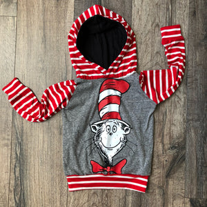 Dr Suess Cat in the Hat Classic Romper/Dress/Hoodie, Long Sleeve Hoodie Example