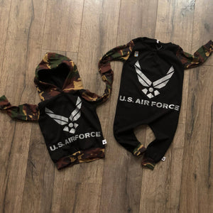 US Air Force Military Hero Romper/Dress/Hoodie, flat lay with hoodie and romper