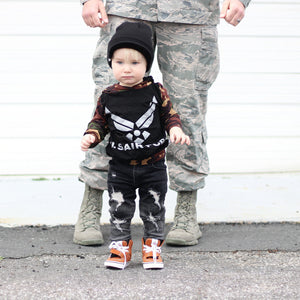 US Air Force Military Hero Romper/Dress/Hoodie, modeled with military