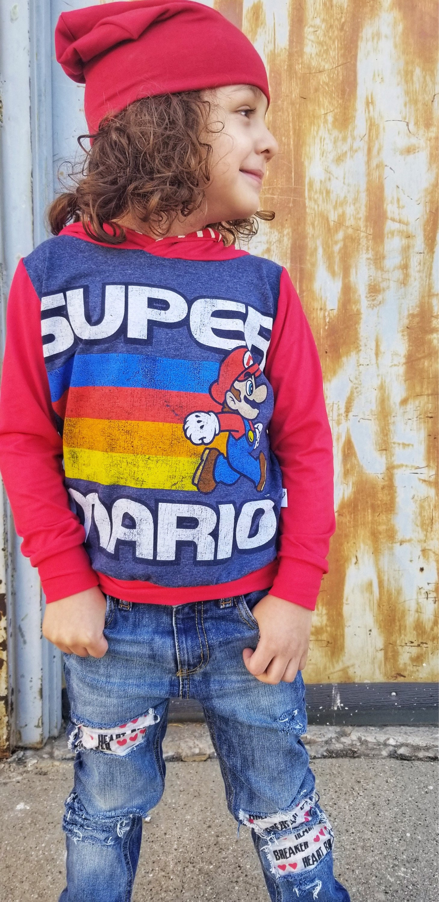 Super Mario Classic Video Game Romper/Dress/Hoodie, Long Sleeve Modeled