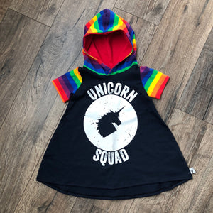 Unicorn Squad Rainbow Romper/Dress/Hoodie, dress with hood