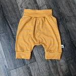 Yellow Modern Striped Harem Pants & Shorts, shorts flat lay