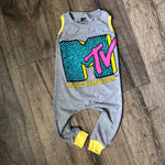 MTV Classic Logo Pop Culture Romper/Dress/Hoodie, Sleeveless Romper Example