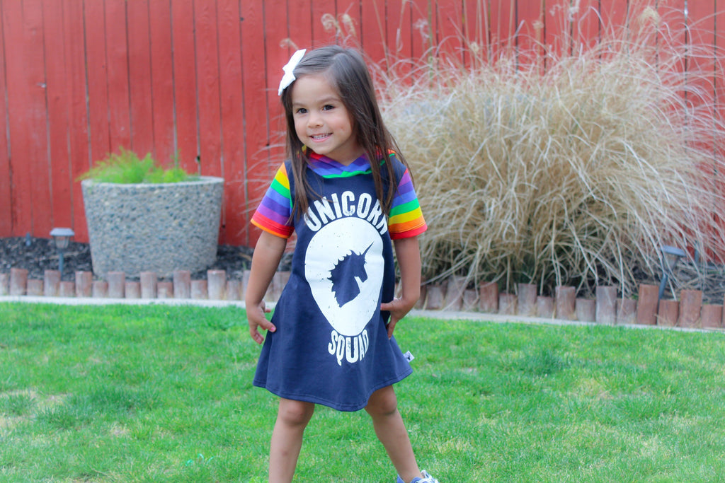 Unicorn Squad Rainbow Romper/Dress/Hoodie