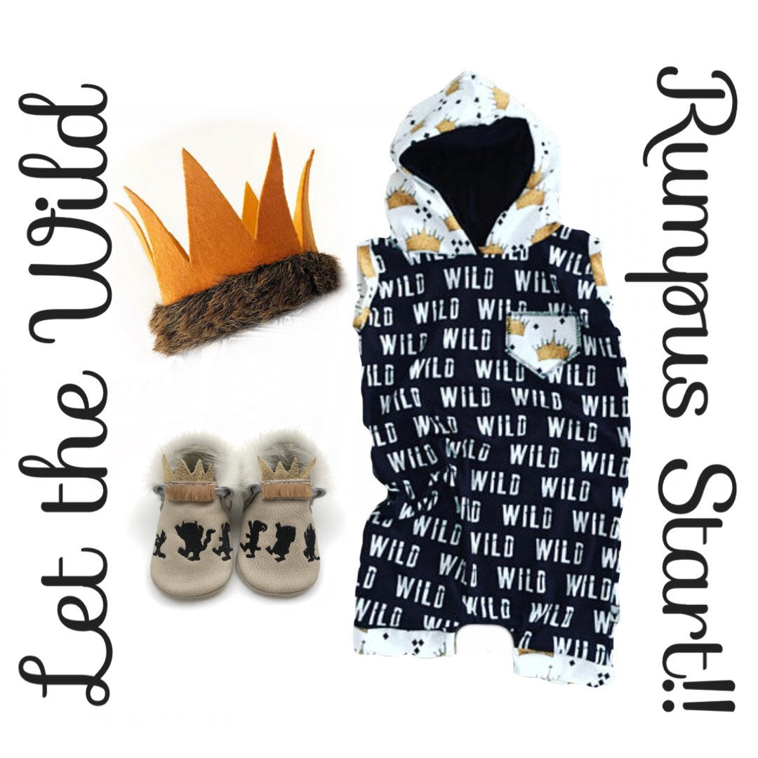 Where the Wild Things Are Wild One Crown Romper/Dress/Hoodie, Romper Flat Lay
