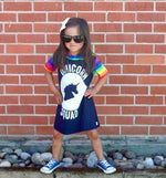 Unicorn Squad Rainbow Romper/Dress/Hoodie, modeled in dress