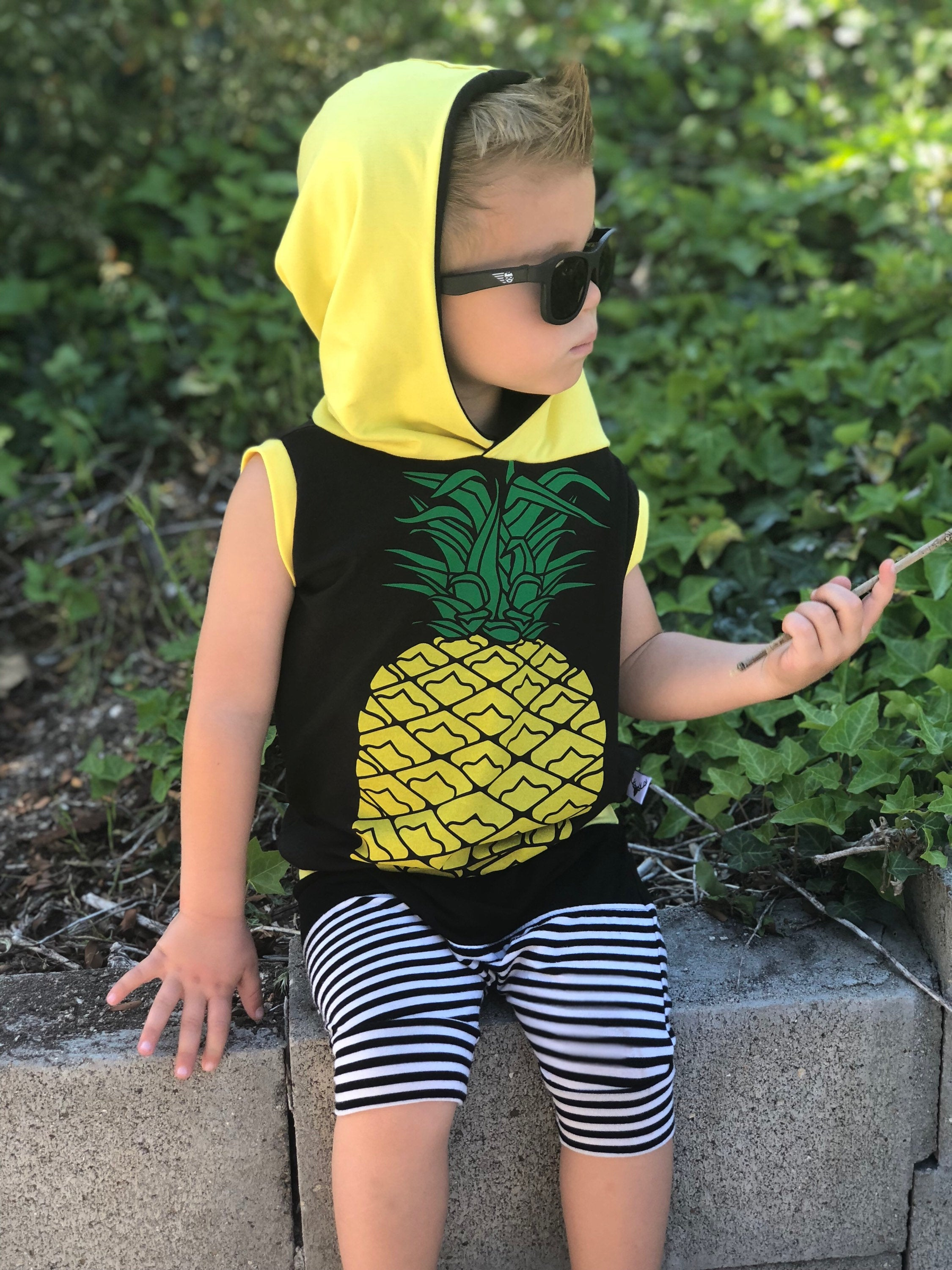 Pineapple Summertime Romper/Dress/Hoodie, modeled on boy sitting on wall