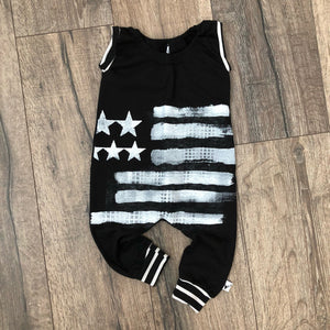 American Flag Patriotic Romper/Dress/Hoodie, short sleeve romper flat lay