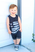 American Flag Patriotic Romper/Dress/Hoodie, modeled