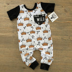 Where the Wild Things Are Crown Pattern Romper/Dress/Hoodie, Short Sleeve Romper FLat Lay