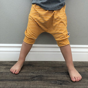 Yellow Modern Striped Harem Pants & Shorts, modeled with no shoes