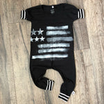 American Flag Patriotic Romper/Dress/Hoodie, romper flat lay