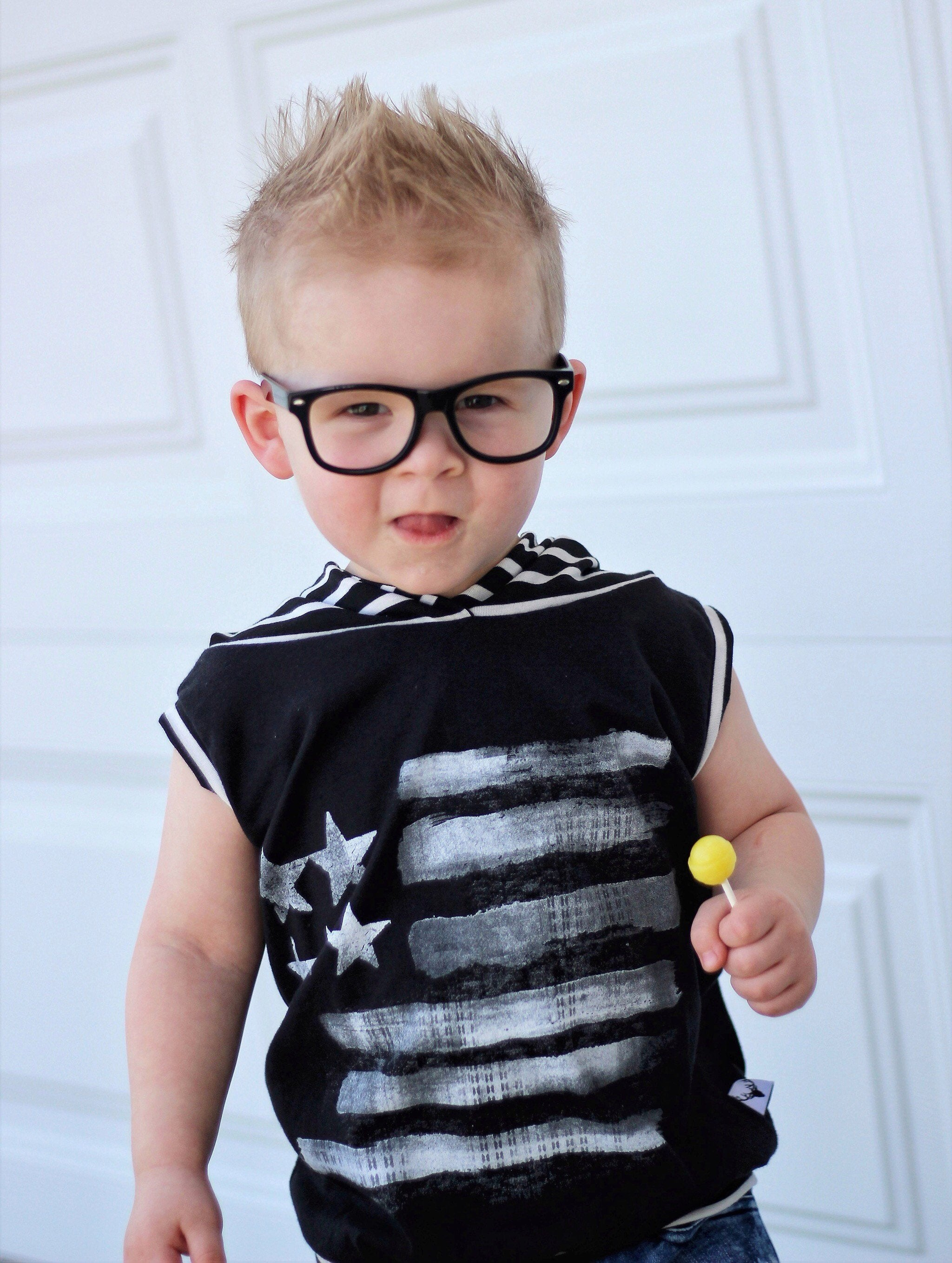 American Flag Patriotic Romper/Dress/Hoodie, modeled with glasses