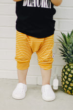Yellow Modern Striped Harem Pants & Shorts, close up