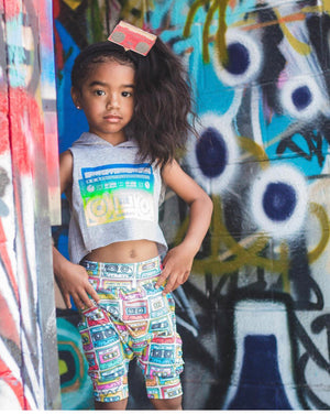 80's Multicolored Cassette Tape Harem Pants & Shorts, modeled on girl