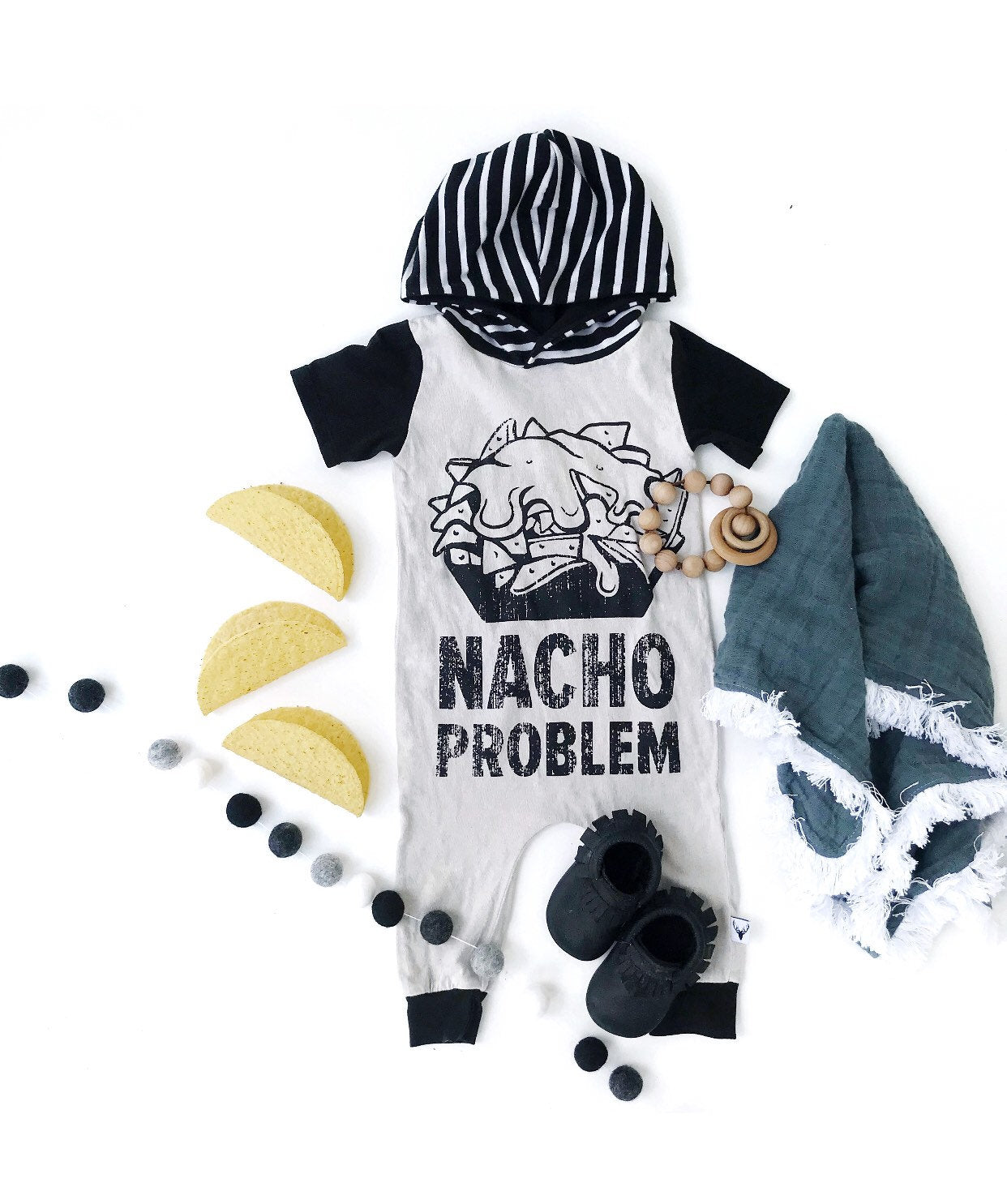 Nacho Problem Funny Romper/Dress/Hoodie, Romper Flat Lay