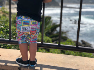 80's Multicolored Cassette Tape Harem Pants & Shorts, modeled