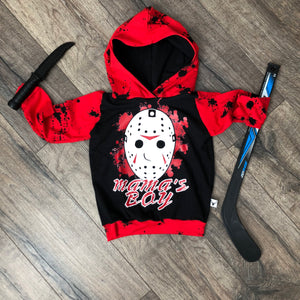 Mamas Boy Friday the 13th Scary Romper/Dress/Hoodie, Hoodie Flat Lay