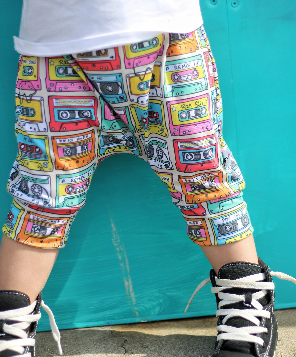 80's Multicolored Cassette Tape Harem Pants & Shorts