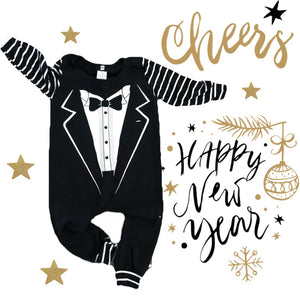 Tuxedo New Years Suit Romper/Dress/Hoodie